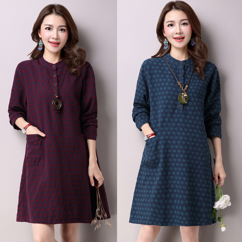 Spring Autumn Large Size Maternity Fashion Slim Dress Loose Pregnant Woman Clothes Long Seelve Expectant Mother Dress