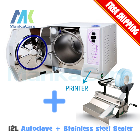 12L Dental Autoclave and sealing machine Big discount for package combo sell of sealer and Sterilizer dental sealing machine seal autoclave steam sterilization dentist equipment