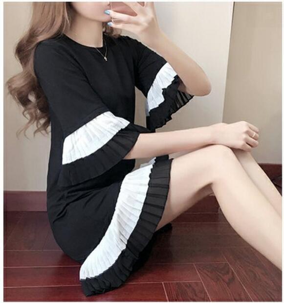 NEW k-pop BTS Bangtan Boys summer College winds Short-sleeved shirt dress Korean fashion Splicing horn sleeves Loose base skirt