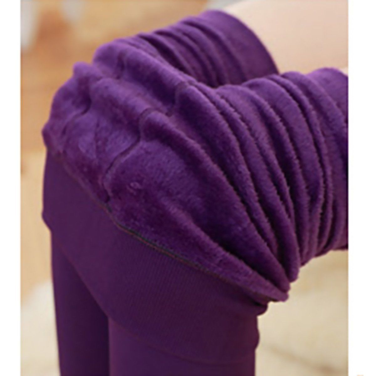 Женские однотонные зимние плотные теплые флисовые утепленные эластичные леггинсы Tihgts - Цвет: Фиолетовый