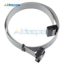 цена на 5Pcs 70CM 10 Pin USB ASP ISP JTAG AVR Wire 10P IDC Flat Ribbon DATA Cable Connector 2.3ft 2.54mm