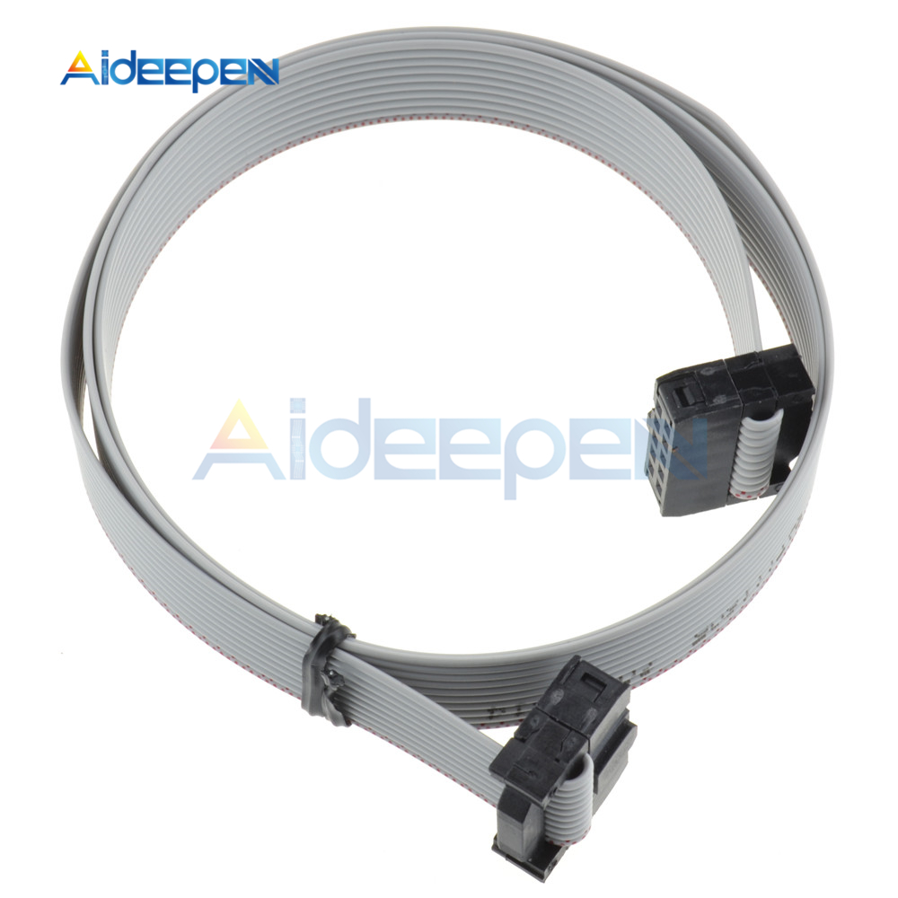 5Pcs 70CM <font><b>10</b></font> <font><b>Pin</b></font> USB ASP ISP JTAG AVR Wire 10P IDC <font><b>Flat</b></font> Ribbon DATA <font><b>Cable</b></font> Connector 2.3ft 2.54mm image