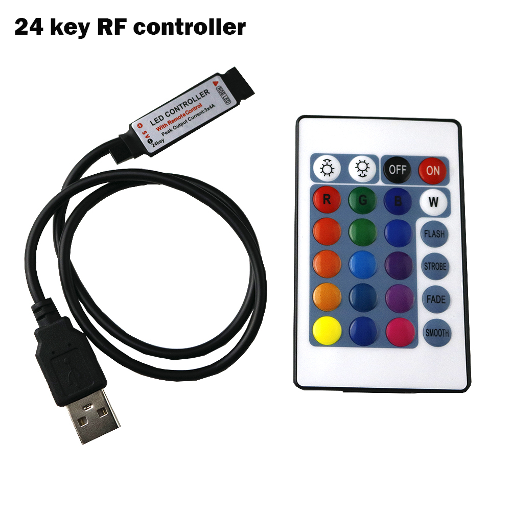 19 Key RF Wireless Remote LED Controller DC Plug To 4Pin For RGB 5050 3528 Strip