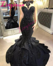 Stunning Black Mermaid Long Prom Dresses 2020 Sexy Beaded Appliqued Cascading Ruffled Court Train Backless Formal Evening Dress