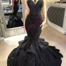 Stunning Black Mermaid Long Prom Dresses 2018 Sexy Beaded Ap