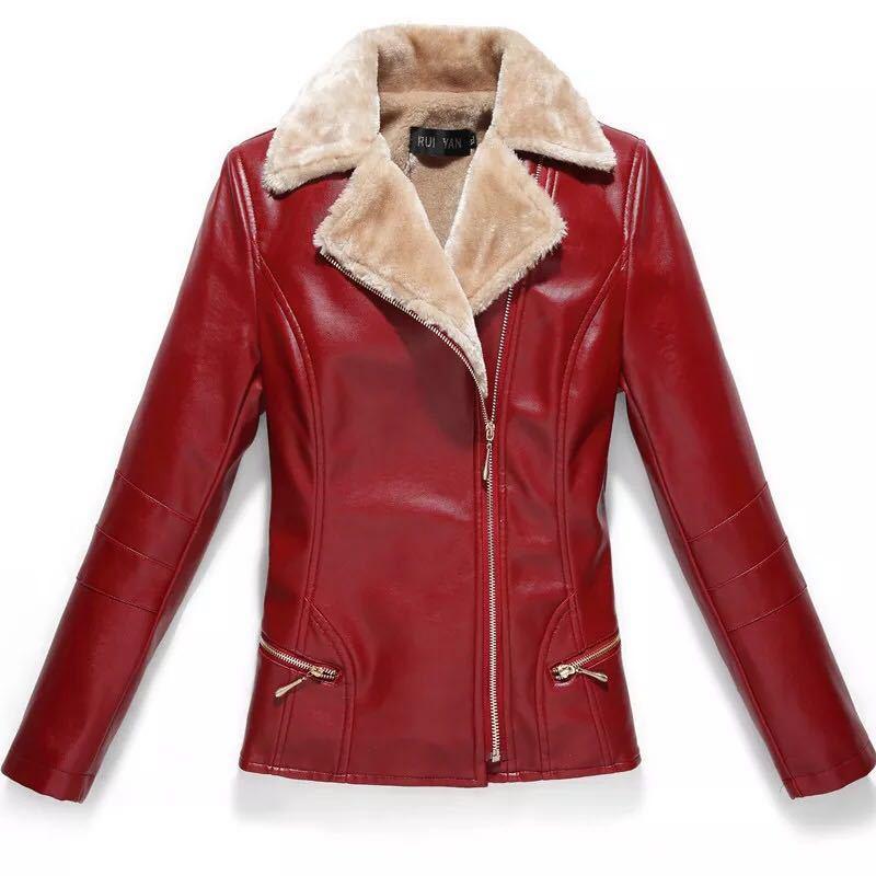 La Cuir Taille Black En Manteau Femmes 2018 Hiver De Chaud Motard Veste Faux Noir red Plus Épaissir Survêtement Zipper YwqSaZ