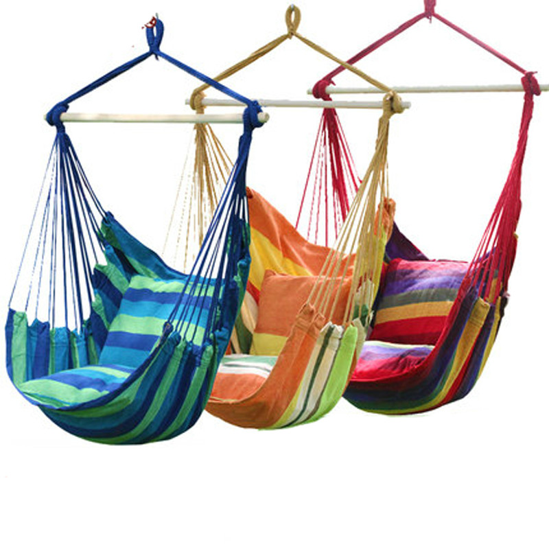Fashion Hanging College Chair Indoor Outdoor Furniture Hammocks Thick Canvas Dormitory Swing with 2 Pillows Hammock Camping New modern hammocks outdoor hammock chair