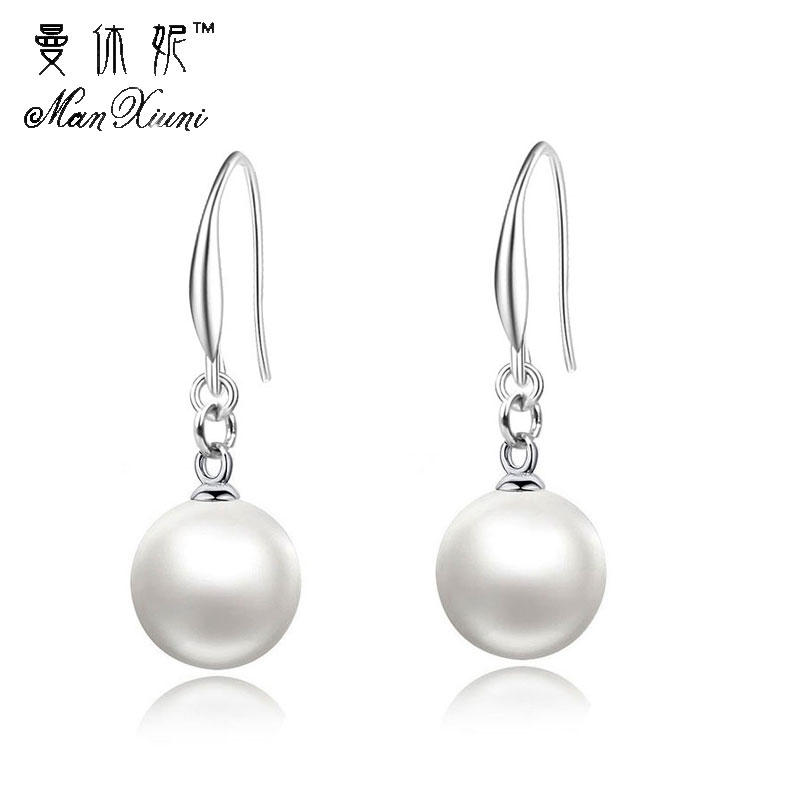 New ladies fashion simple simulation pearl earrings quality bride jewelry oorbellen pendientes wholesale