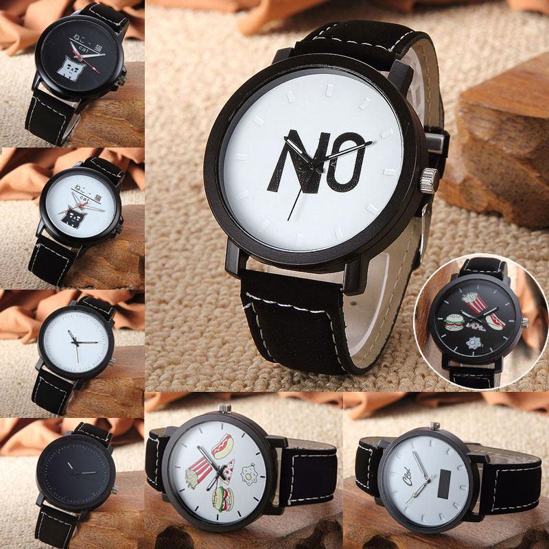 Haraiuku Style Women Man's Unisex Simple Personality Dial Wristwatch PU Leather Casual Clocks Lover Watch Gift   TT@88
