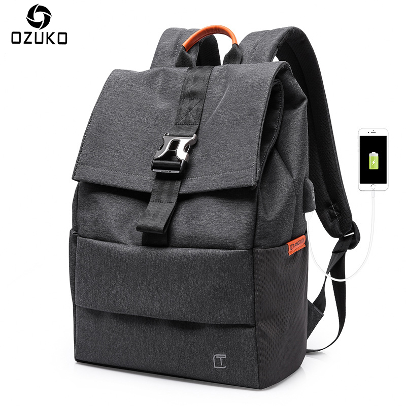 OZUKO Minimalist Men Backpacks Large Capacity Casual Travel Male Mochila USB Port 15 inches Laptop Backpack Fashion School Bags casual men genuine leather backpacks male large capacity shoulder travel bag daypack student laptop backpack school bags mochila