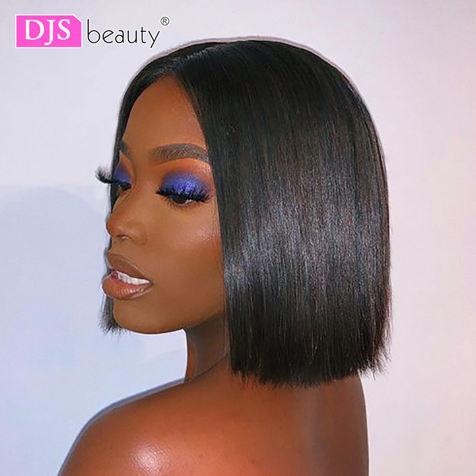 Short Lace Front Human Hair Wigs Bob Wig Natural Color Brazilian Remy Hair Full and Thick