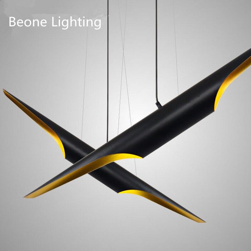 Moderne E27 LED en Aluminium noir or pendentif lampes éclairage lumière L100cm/80 cm hôtel projet café loft en Aluminium suspension lampe