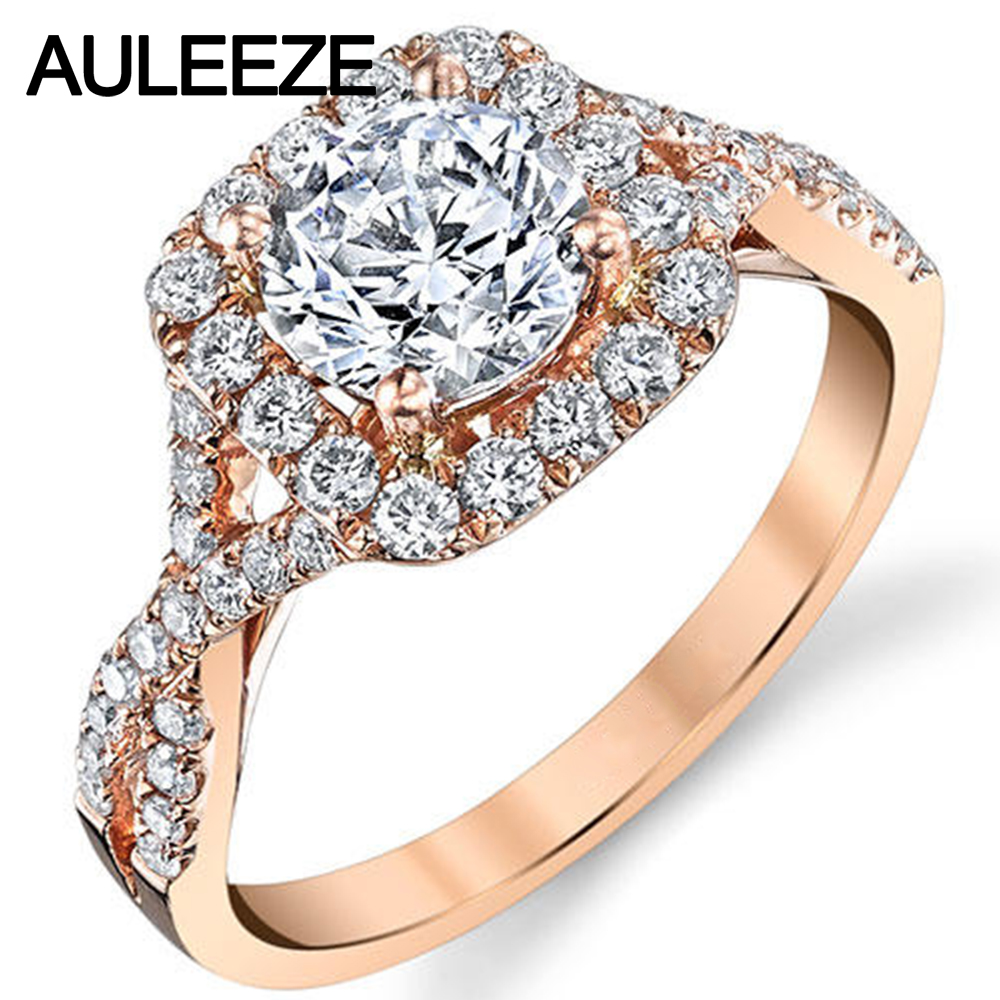 Aliexpress : Buy Infinity Shank 9k Rose Gold Engagement Wedding Rings  For Women Cushion Halo Round Brilliant 1 Carat Simulated Diamond Ring From