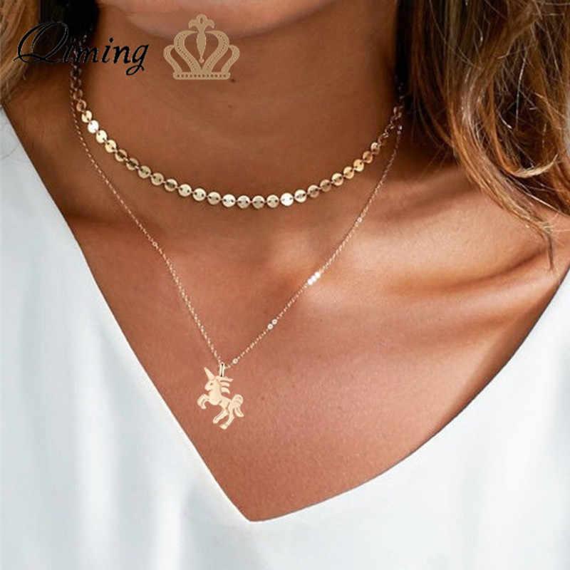 QIMING الذهب يونيكورن قلادة جميلة الحيوان لطيف الحصان قلادة الفضة الطفل الأطفال مجوهرات النساء محظوظ سلسلة قلادة هدية