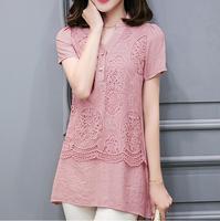 2xl Plus Size Cotton Linen Lace T Shirt Women Summer Vintage Folk Style Patchwork V Neck