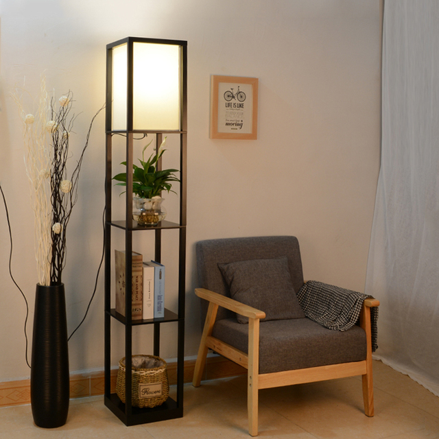 floor lamp living room wooden ideas shelf in the bedroom of chinese study bookshelf storage rack wedding gift lighting stand