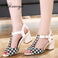 2016 Fashion summer women high heels big size 32-43 Mixed Colors Buckle Strap ladies shoes sexy T-Strap Sandals zapatos mujer