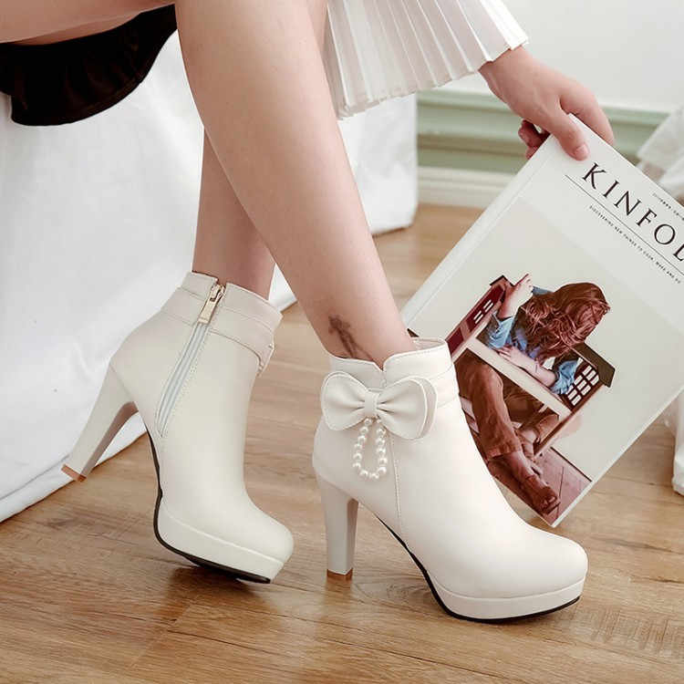 PXELENA Elegant Wedding Ankle Boots Ladies Round Toe Butterfly-knot Beads Stiletto  High Heels Short 52a7d5ae8cfc