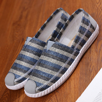 Mens Loafers Fashion Handmade Moccasins Soft Canvas shoes Blue Slip On Men's Boat Shoe leisure male lightweight 1