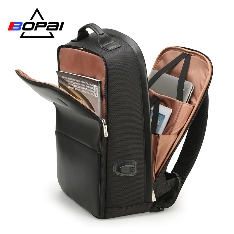 BOPAI USB Charge Backpack Men Leather for Travelling Fashion Cool School Backpack Bags for Boys Anti