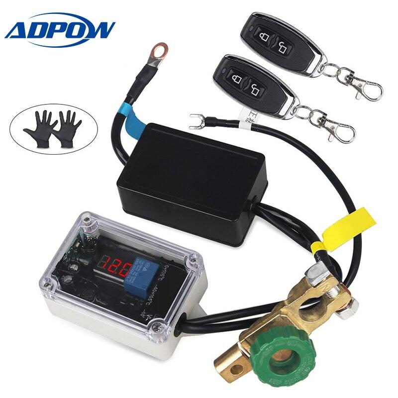 ADPOW télécommande universelle sans fil 12 v voiture batterie déconnexion coupure isolateur interrupteurs maîtres voltmètre affichage + gants