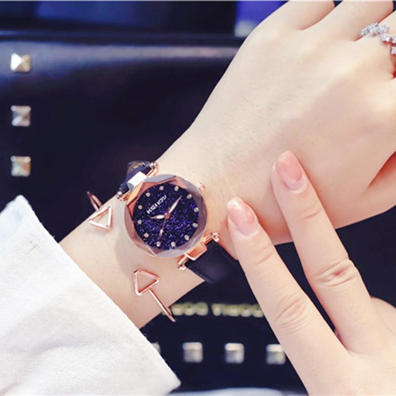 ladies watch for starry sky watch luxury quartz watch women fashion casual leather rhinestone female clock zegarek damski 2018 5