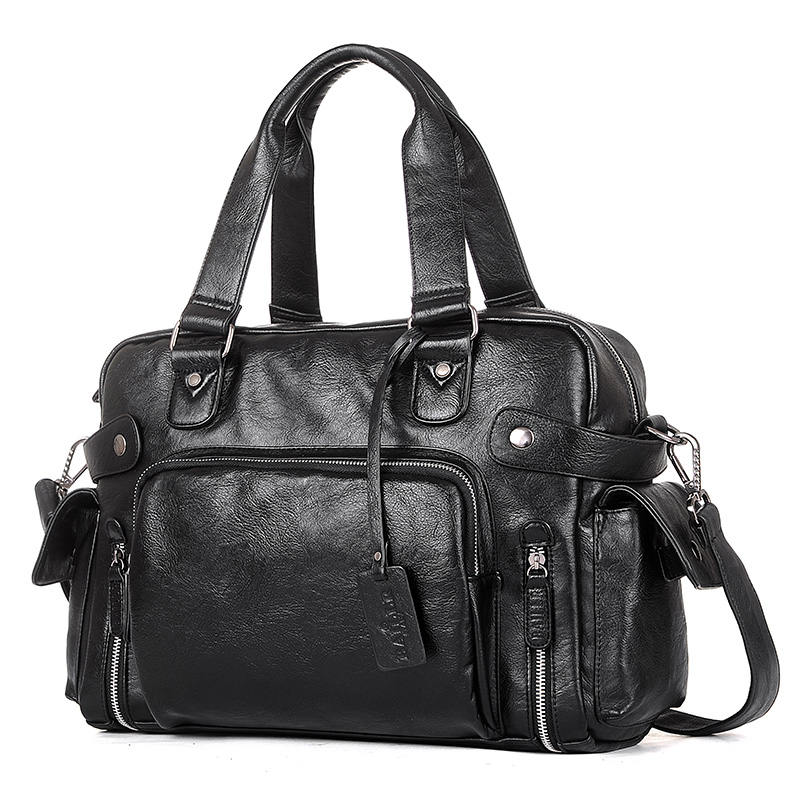 High Quality Men Designer Travel Bags Luggage 14 Inch Laptop Duffel Bag Large Capacity Shoulder Bags Casual PU Leather HandbagHigh Quality Men Designer Travel Bags Luggage 14 Inch Laptop Duffel Bag Large Capacity Shoulder Bags Casual PU Leather Handbag