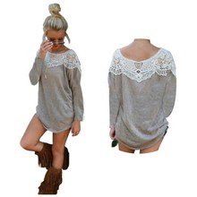New Women Fashion Autumn Gray Long Sleeve Stitching Lace Loose Shirt Blouse Tops