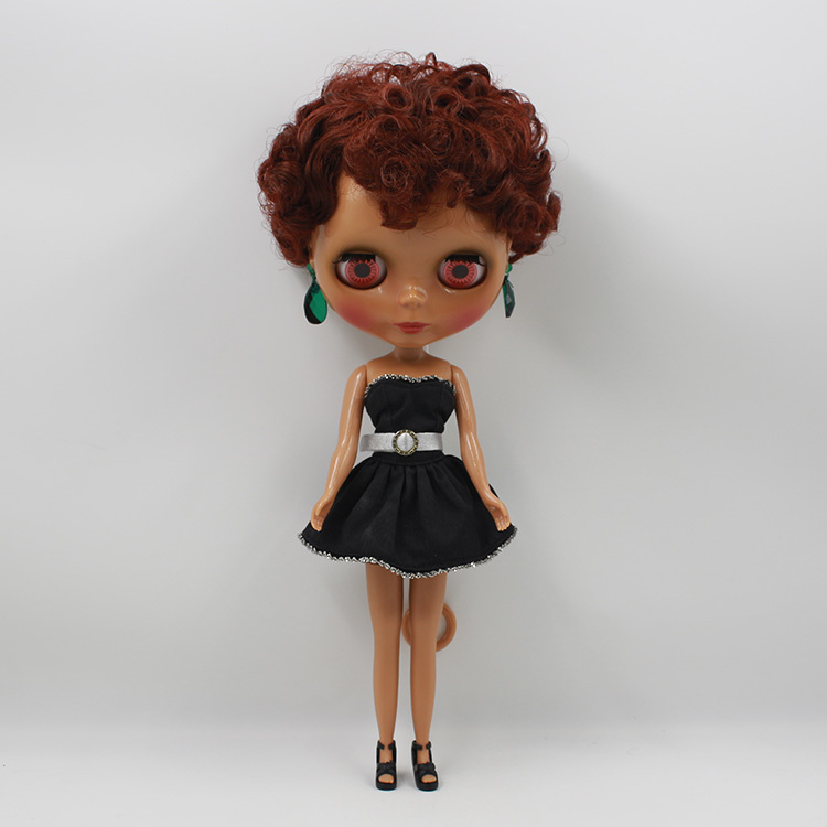 Free shipping factory blyth doll 70BL0362 Brown hair dark skin normal body toy gift 1/6