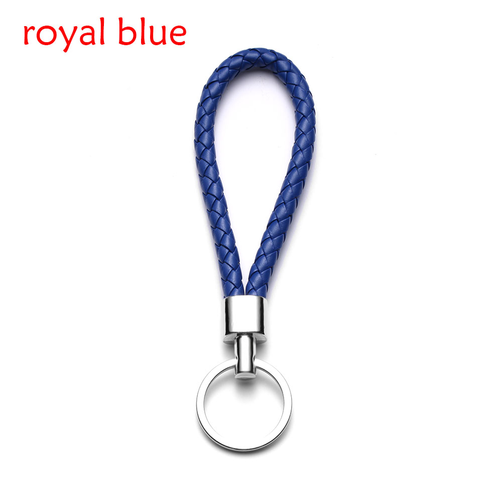 13 цветов ручной работы плетеная брелок для ключей кожаный брелок автомобильный брелок Прямая - Название цвета: royal blue