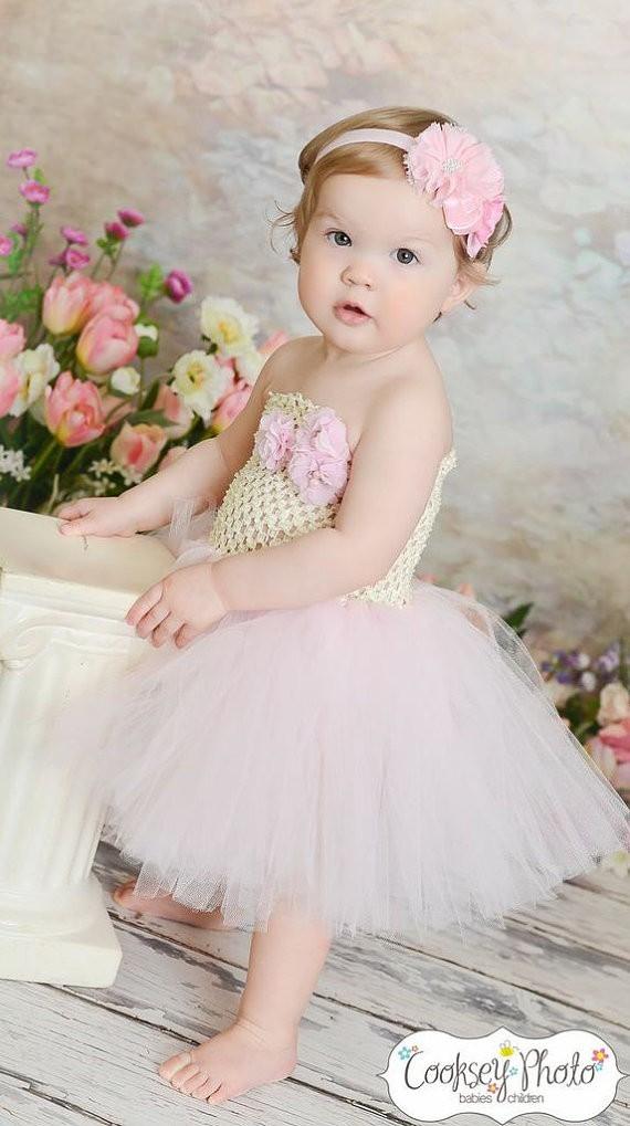vory and Light Pink Flower Girl Birthday Tutu Dress2