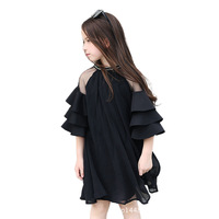 Girls Summer Dress 2019 Off Shoulder Black Kids Dresses For Girls Teenagers 10 12 14 Years Big Girls Clothes Deguisement Enfant