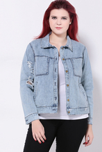 Plus size 5xl women new fashion lapel long sleeve denim jackets loose women out wear casual womens denim jacket ZJ1072