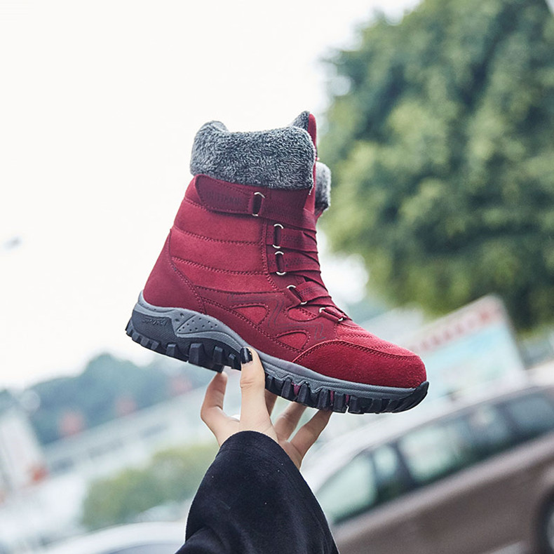 STS BRAND 2019New Fashion Suede Leather Women Snow Boots Winter Warm Plush Women's boots Waterproof Ankle Boots Flat shoes 35-42 (9)