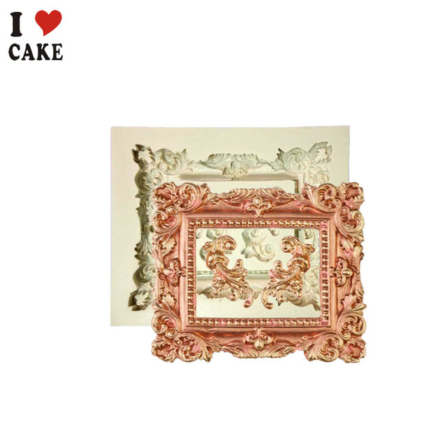 New Hand carved DIY 3D Mirror Frame Silicone Fondant Mould Cake ...