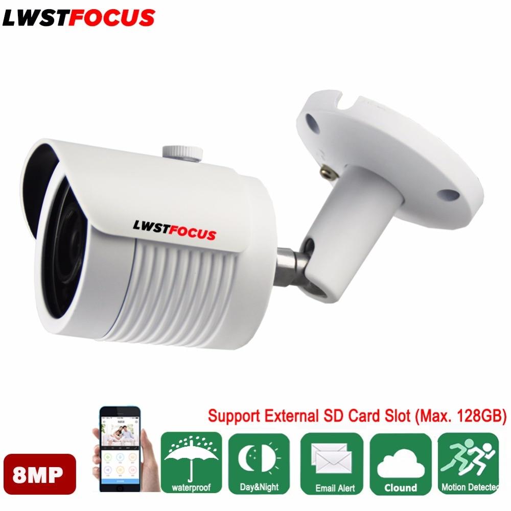 LWSTFOCUS 4K 8MP H.265 IP Camera IR IP67 IK10 POE Mini Bullet POE IP camera 8MP 4mm Lens With High Resolution 3864(H)*2218(V) hikvision original english h 265 8mp mini ip camera ds 2cd2085fwd i 4k bullet outdoor cctv surveillance camera onvif poe ip67