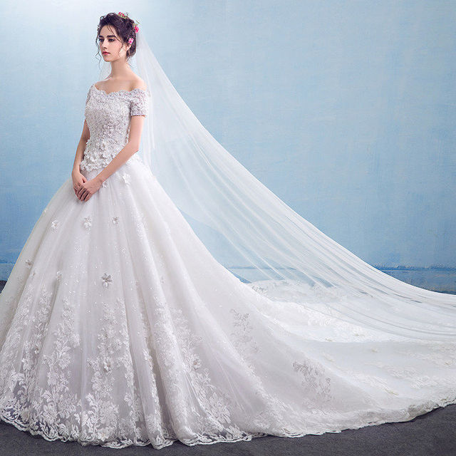 Wedding Dress Off Shoulder Short Sleeve A Line Long Train Gowns Appliques Beading Cheap