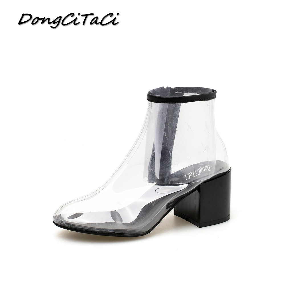DongCiTaCi Women Ankle Short Boots Shoes Woman Ladies Fashion Transparent Female European USA Thick High Heel