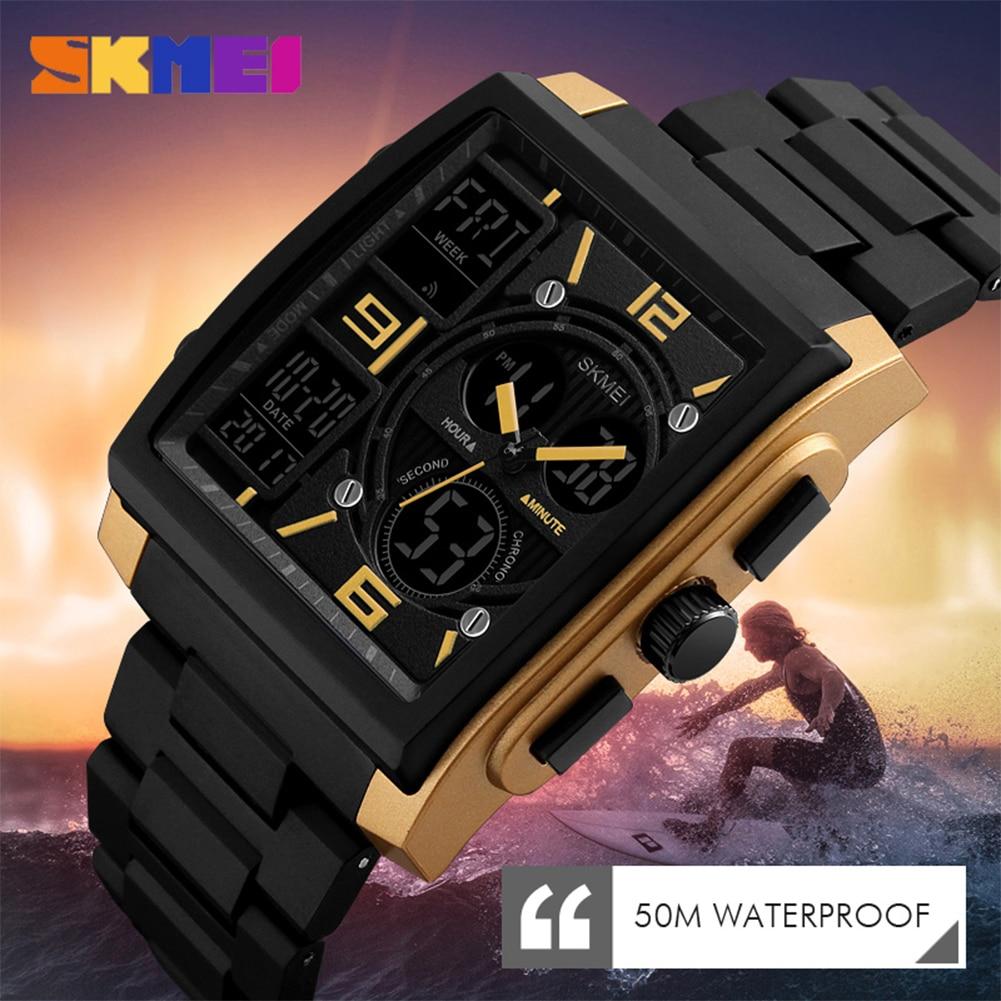 Smart Students Men's Quartz Wristwatches Dual Time Display Waterproof Digital LED Fashion Design Sports Watch