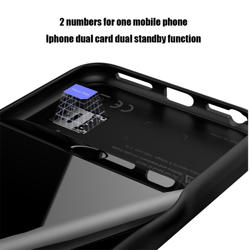 Image 3 - Dual Sim Card Adapter Bluetooth Case for iPhone 6 PLUS 7 PLUS  8 PLUS 6S PLUS Slim Dual Standby Adapter Active Sim Card Holder-in SIM Card Adapters from Cellphones & Telecommunications