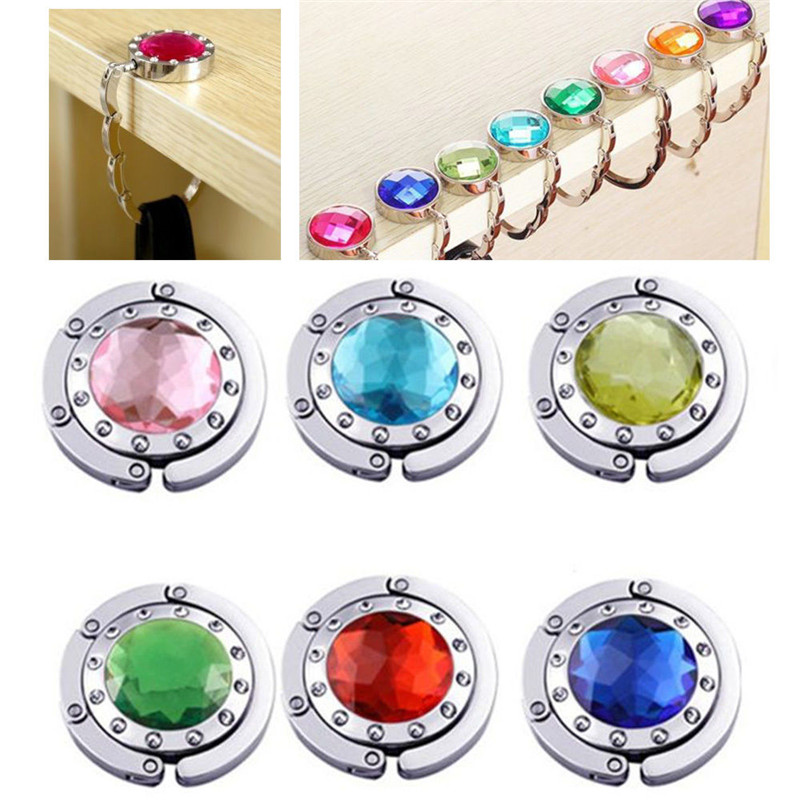 2018 Fashion Alloy Portable Foldable Folding Crystal Table Purse Bag Hook Hanger Holder Mirror Handbag Top Handbag 10 colors swiss blue crystal handbag purse hook hanger
