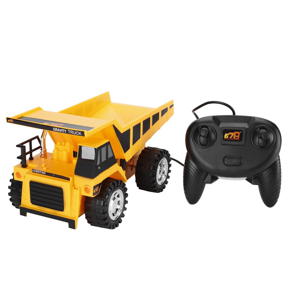 <font><b>RC</b></font> 4 <font><b>Wheel</b></font> Engineering Car Toy Model Wire Control Preschool Learning for Children <font><b>Trucks</b></font> Bulldozers Bulldozers Yellow image
