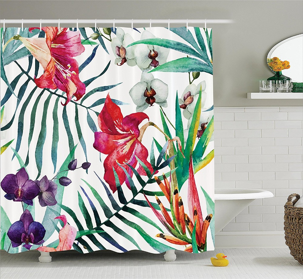 tropical wild orchid flowers with palm leaves shower curtain printing waterproof mildewproof. Black Bedroom Furniture Sets. Home Design Ideas