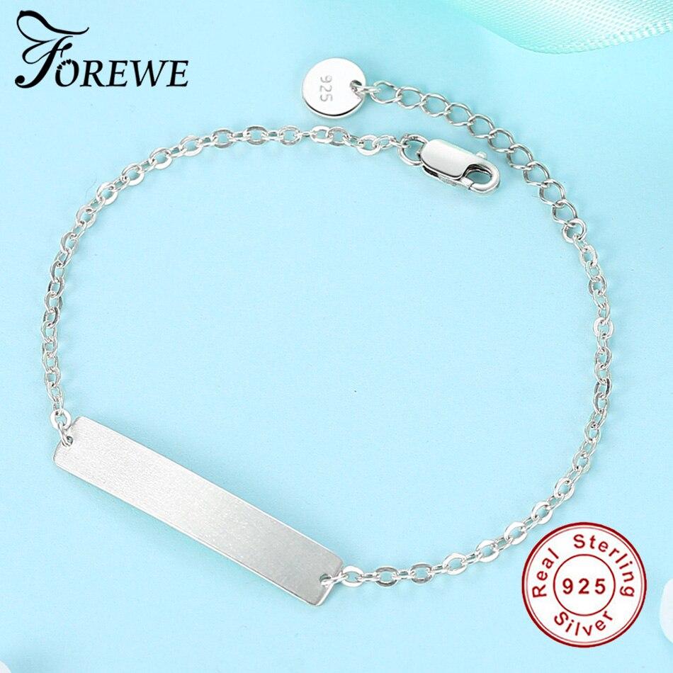991cd0595d9c3 US $8.37 50% OFF|Luxury 100% 925 Sterling Silver Bar Bracelet Custom  Engraved Name Couple Bracelet Personalized Initial Bracelet For Women  Men-in ...