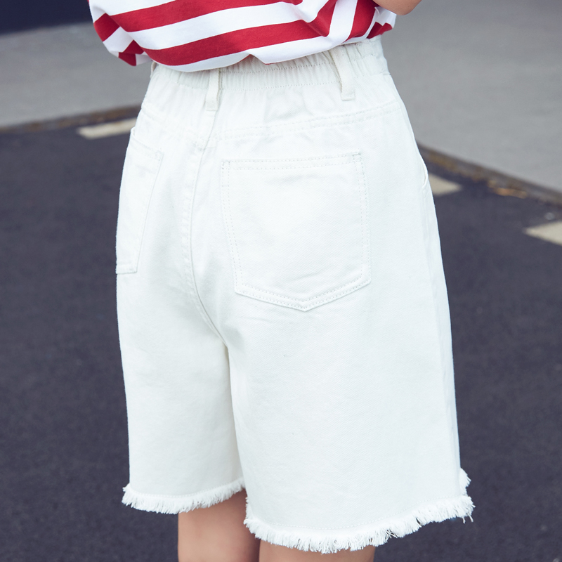 Good quality cotton denim   short   jeans woman summer spring elastic high waist blue white   shorts   female wide leg   shorts   fashion