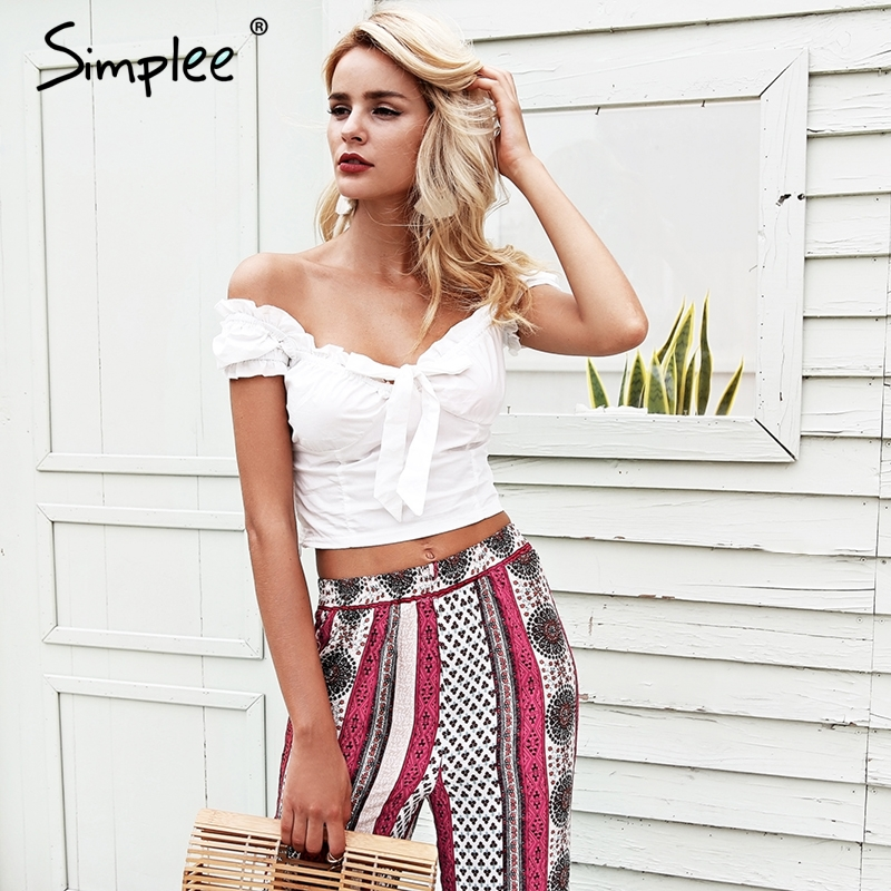 93c67d825e31f Simplee Off shoulder sexy white crop top women Ruffle bow slim bustier  bralette top 2018 Summer