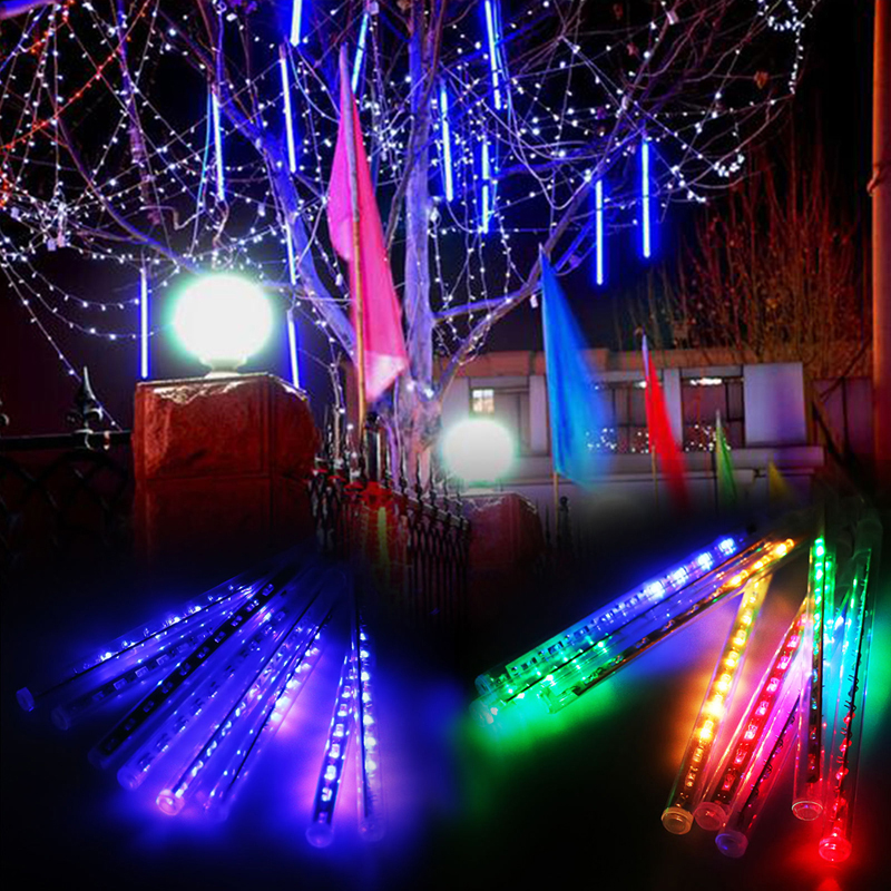 30cm LED Lights Meteor Shower Rain 8Tube Xmas Tree Outdoor Light EU Plug