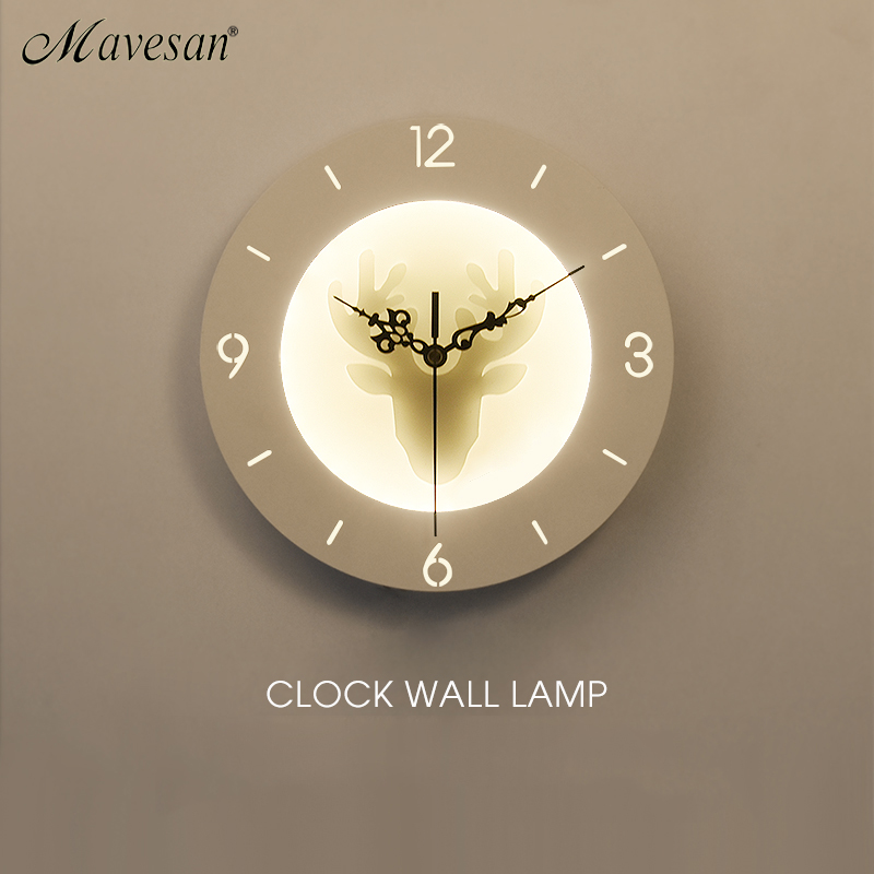 Clock Wall Lamps For living room Bedroom 22w Wall Sconce White Indoor Lighting Lamp AC85 265V