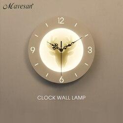 Zegar ścienny do salonu sypialnia 22w kinkiet biały kryty lampa oświetleniowa AC85 265V oświetlenie naścienne led oświetlenie wewnętrzne|Wewnętrzne kinkiety LED|Lampy i oświetlenie -