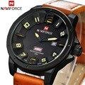2016 Naviforce Militares dos homens Relógios Top Marca de Luxo Relógios De Pulso De Couro Homens Relógio Esportivo À Prova D' Água Relogio masculino